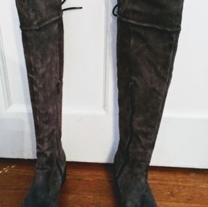 Born Gray over knee suede boots